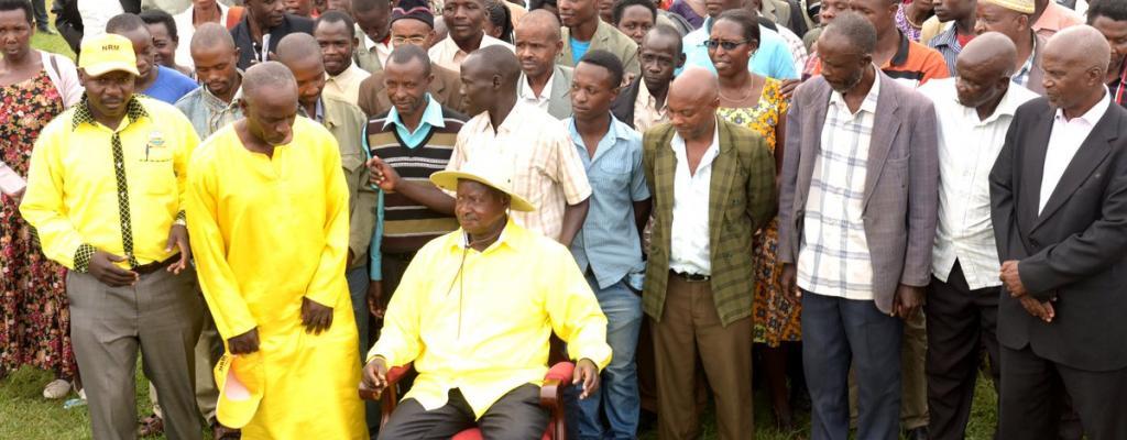 President Yoweri Kaguta Museveni at Kirambi market in Mitooma district